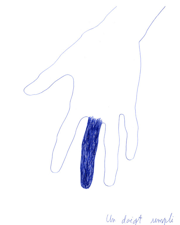 Claude Closky, 'Un doigt rempli [one filled finger]', 1991, blue ballpoint pen on paper, 30 x 24 cm.